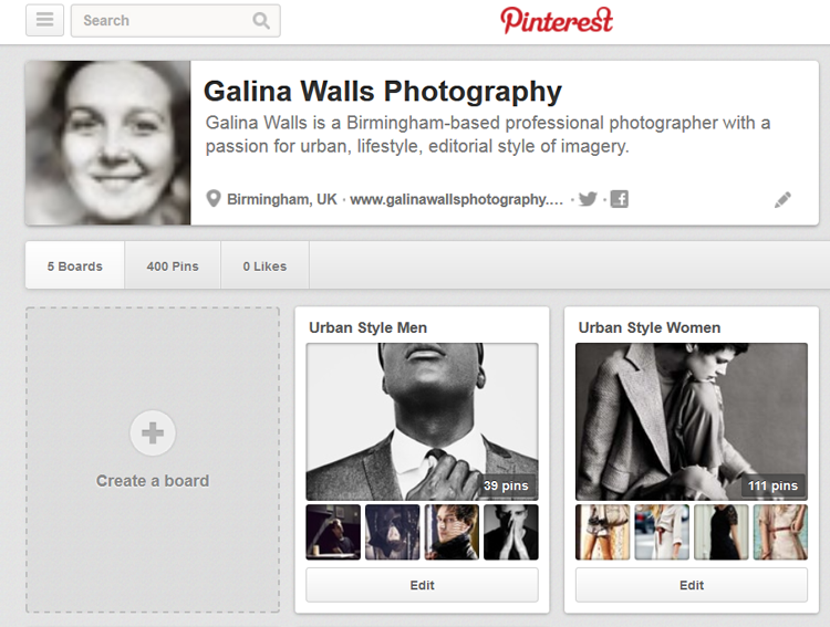 Screen capture of Pinterest boards by Galina Walls Photography