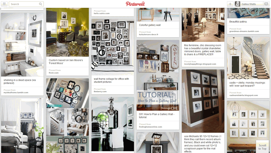 Displaying photographs in your home Pinterest board