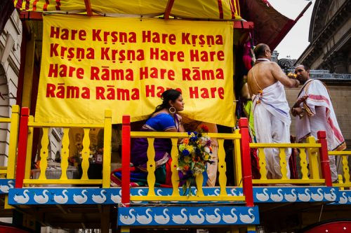 Hare Krsna red and yellow banners