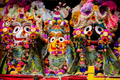 Balabhadra (elder brother), sister Subhadra, & Lord Jagannath at Birmingham Ratha Yatra 2013
