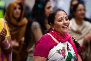 Woman enjoing the Ratha Yatra Festival