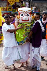 Balabhadra's statue carried from the chariot to the altar