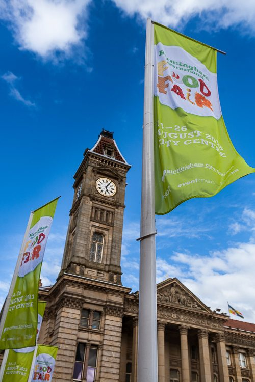 Birmingham International Food Fair 2013 banners in the wind