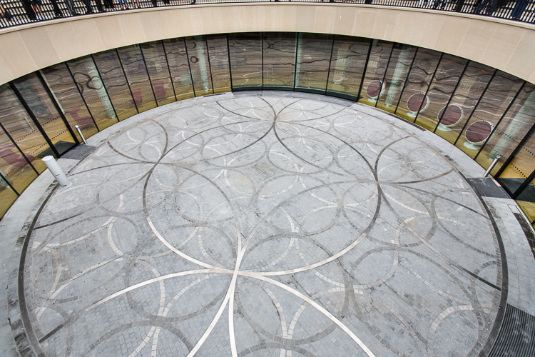 Interconnected metallic rings are repeated on the flour of the Amphitheatre of the Library of Birmingham