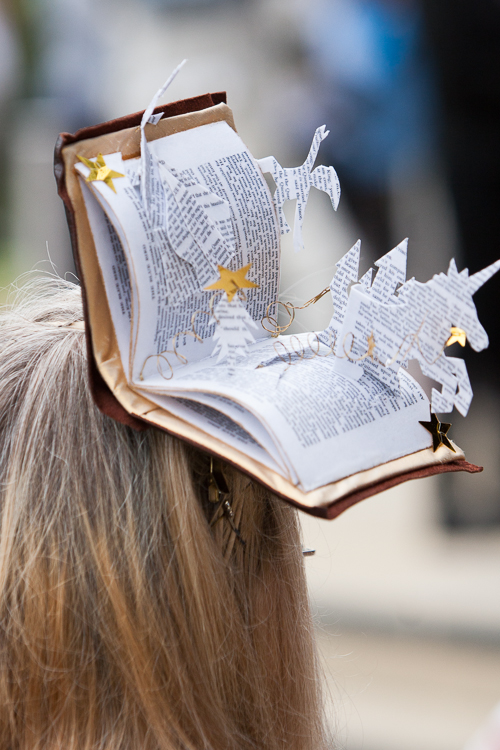 Quirky book hat, very British, at the opening of the library