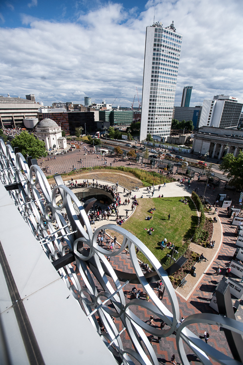 A view from the Discovery Terrace onto the middle piazza of the Centenary Square