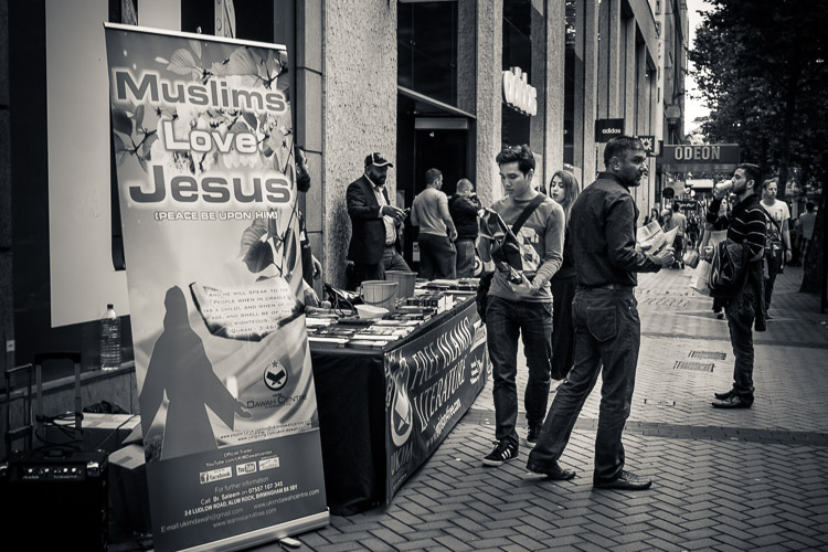 Street photography - Muslims love Jesus literature stall, Birmingham
