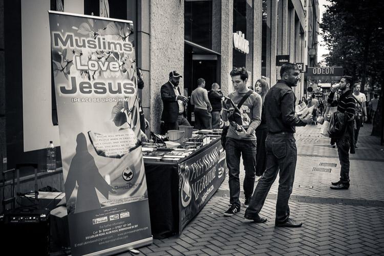 Street photography - Muslims love Jesus literature stall, Birmingham