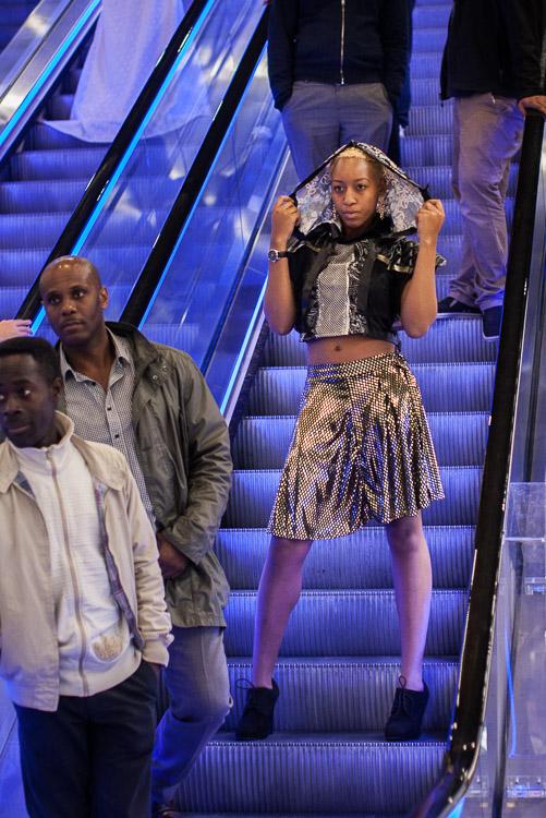 Joseph Chamberlain College Fashion Show - on the Library of Birmingham escalators