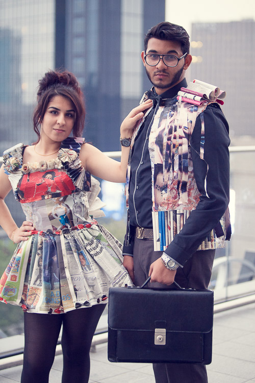 Students modelling paper garments from Joseph Chamberlain College Fashion Show at the Library of Birmingham