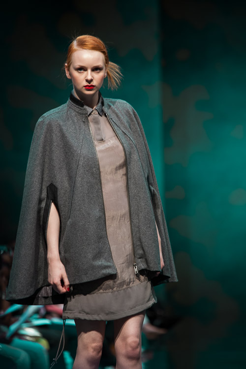 More URBAN from DKNY - grey wool cape coat and khaki military dress with elasticated hem
