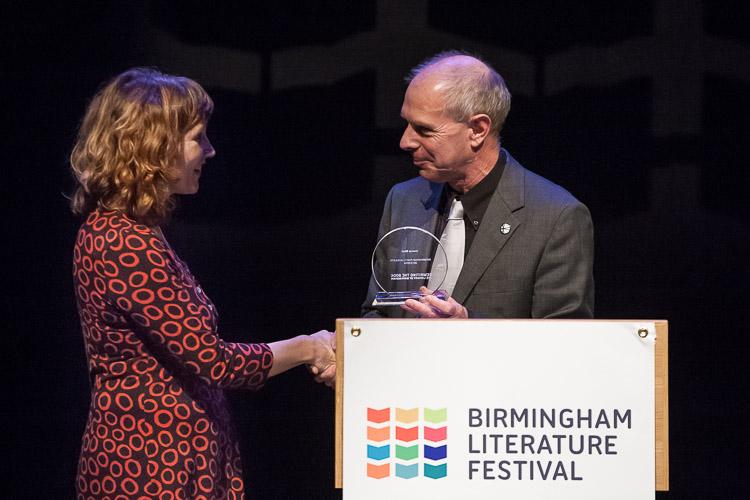 Brian Gambles congratulates the new, 18th Birmingham Poet Laureate Joanna Skelt