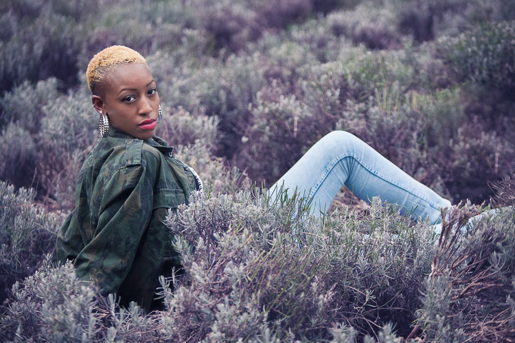 Model in the middle of lavender field