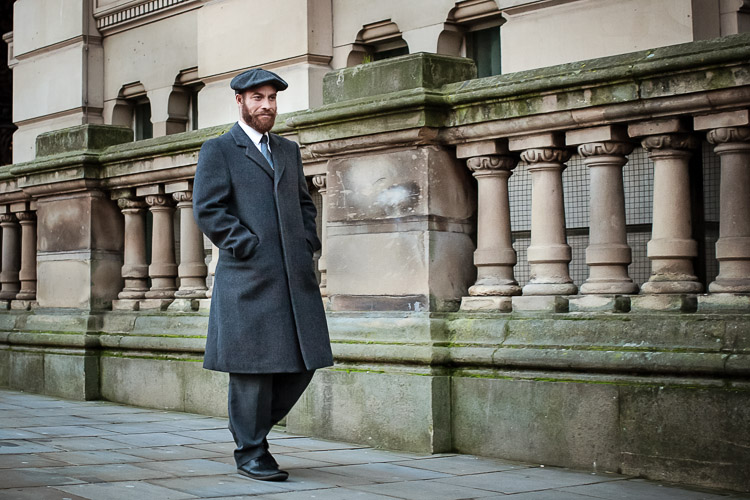 Birmingham Street Style Project - Phillip wearing Peaky Blinders Bakerboy cap