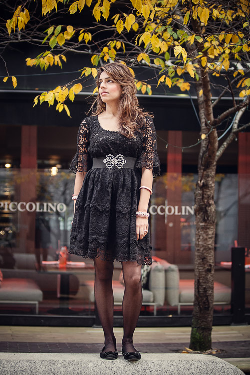 Birmingham Street Style Project black lace dress worn as daywear