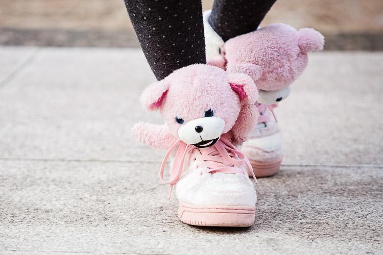 Birmingham Street Style Project Jeremy Scott x Adidas Originals pink teddy bear sneakers