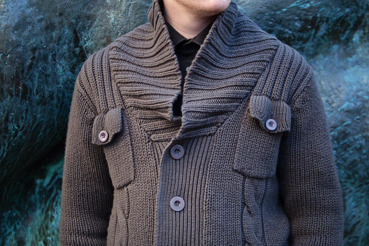 Birmingham Street Style Project menswear grey knitted cardigan detail