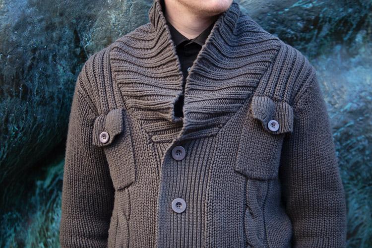 Birmingham Street Style Project menswear grey knitted cardigan detail