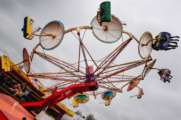 A world upside down - one of the rides at Whitesands Fair