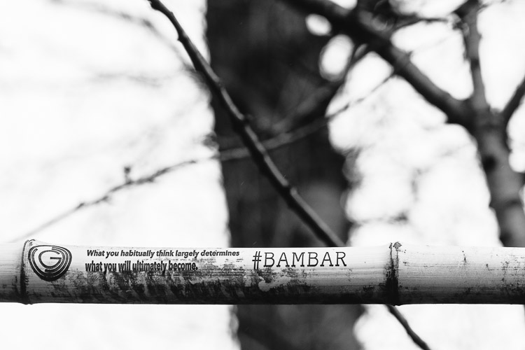 A word of wisdom etched a a bamboo bar at Stockwell Street