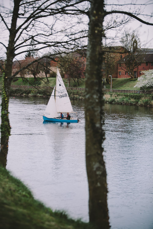 Sailboat following the paper boats see from Dock Park Dumfries