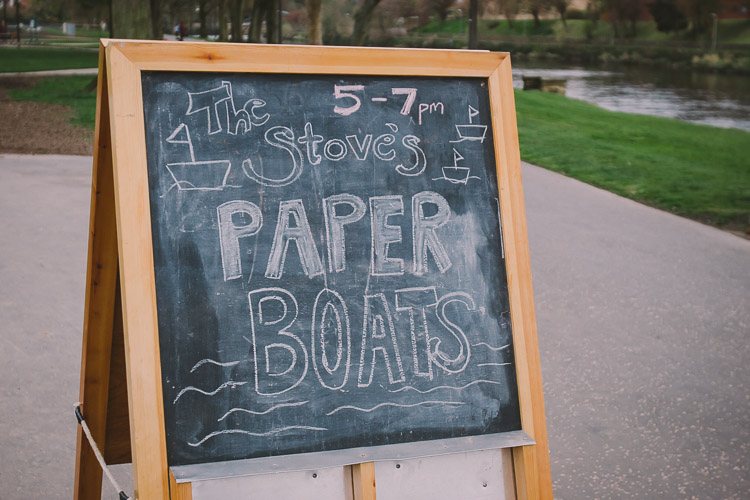 The Stove's paper boat notice