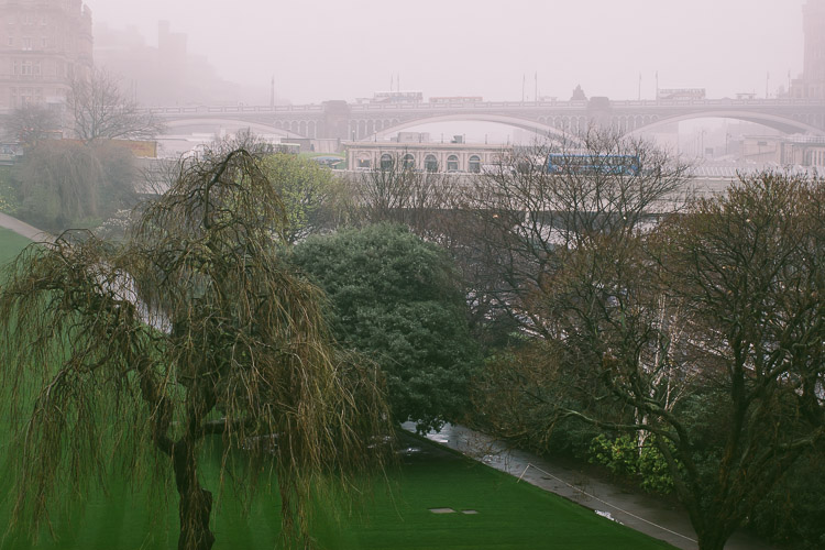 Barely visible Waverley Bridge above East Princes Street Gardens