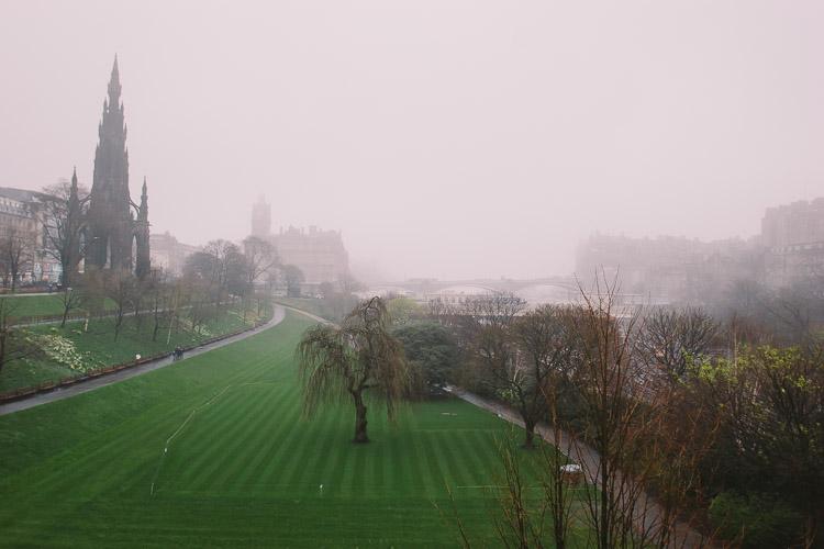 Princes Street Gardens in the mist