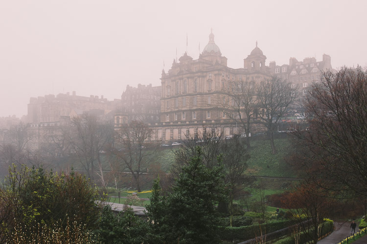 Misty Edinburgh - a view from the Mound Precinct