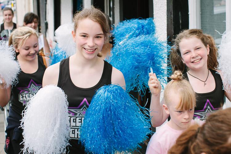 Cheerleaders on their way to Queen's Baton Relay in Dumfries