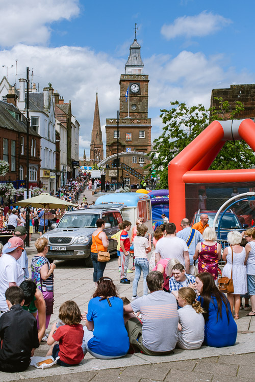 Dumfries on the sunny day - packed with crowds for the afternoon entertainment programme