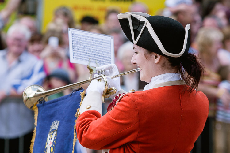 The town bugler Emma Irving signalling the start of the procession