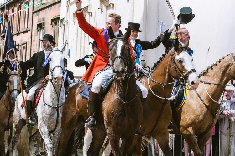 The return of the Ride of the Marches: Pursuivant Ran Morgan, Cornet's Lass Ashley Higgins and Cornet Chris Beattie greet the crowds