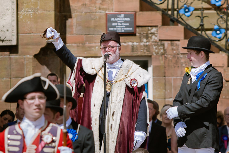 The Provost  Ted Thompson shows the Royal Burgh seal