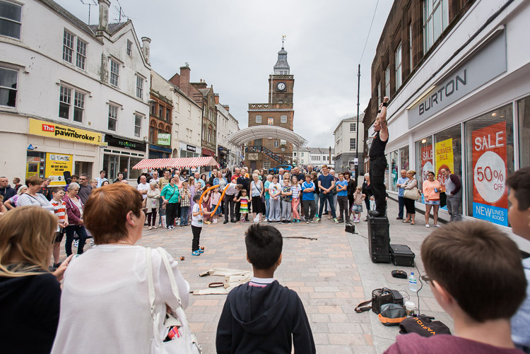 Todd Various performs in High Street in Dumfries
