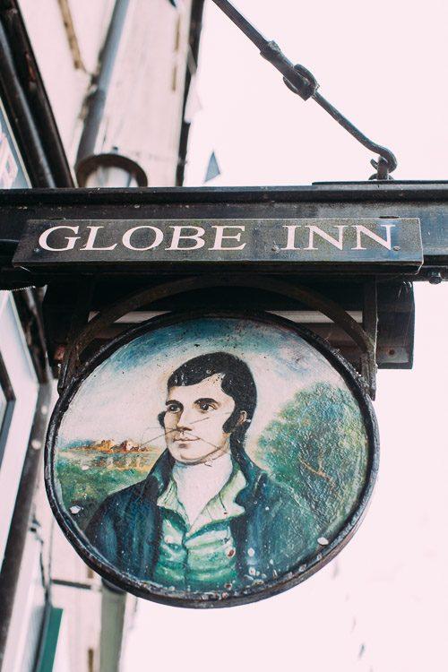 The Globe Inn Dumfries sign in High Street