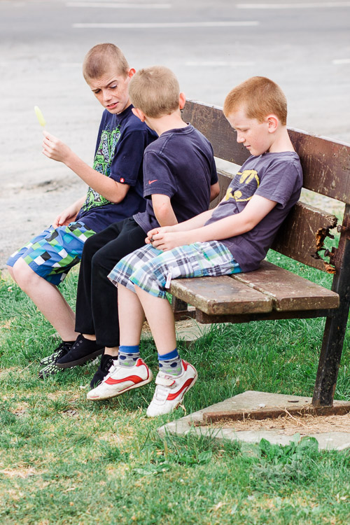 Boys sitting on the bench