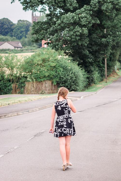 A girl on the skateboard