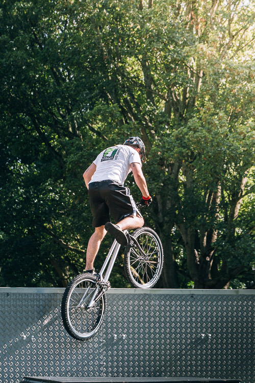 A bike jump from the platform onto the roof of the trailer