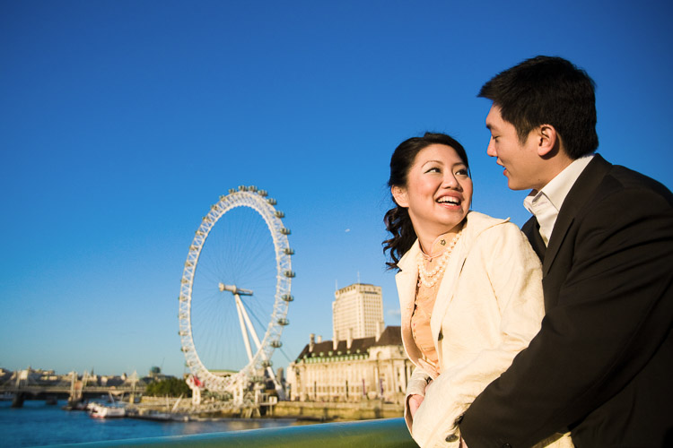 A couple with London Eye at the back