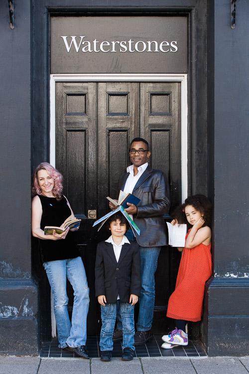 Urban family portrait outside Waterstones Dumfries
