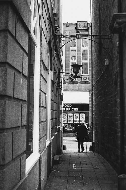 A narrow alley in Dumfries town centre