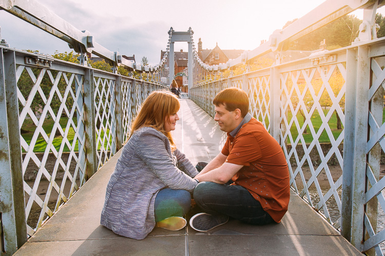 Portrait session on Dumfries pedestrian suspension bridge