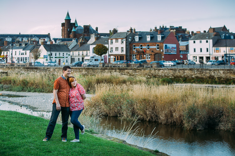 Dumfries townscape serves as a distinctive location set in this photo of a local couple