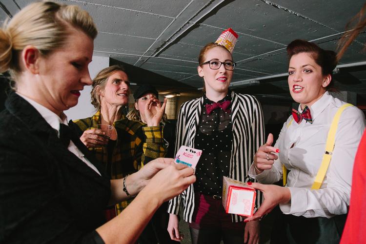 Doonhame Derby rollerskaters fix popcorn boxes as headwear
