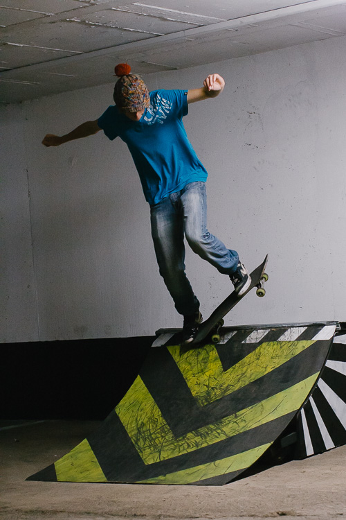 A skateboarder at the NCP Southergate car park in Dumfries during the #ParkingSpace art event