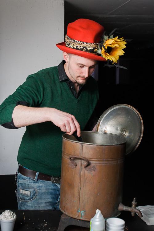 Max Fox makes hot chocolate