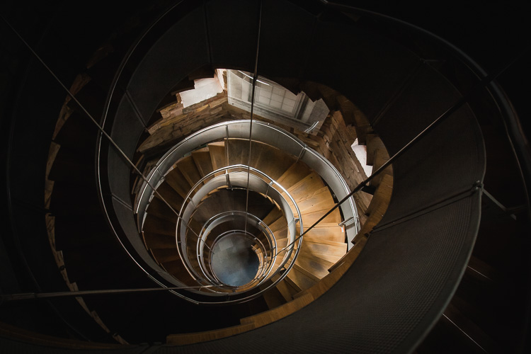 The spiral staircase in the Mackintosh Tower leading to the viewing platform
