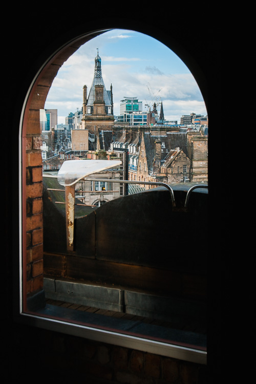 Glasgow cityscape through the observation tower windows