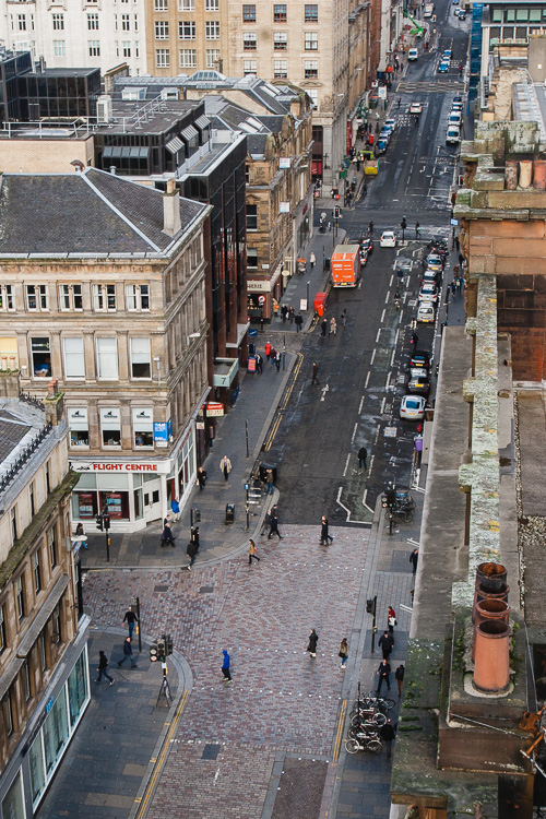 Looking down on the busy streets